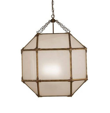 Large Morris Lane Lantern Pendant with Gilded Iron Finish and Frosted Glass by Visual Comfort SK5010GI-FG