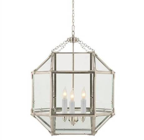 Medium Morris Lane Lantern Pendant by Visual Comfort in Polished Nickel with Clear Glass SK5009PN-CG