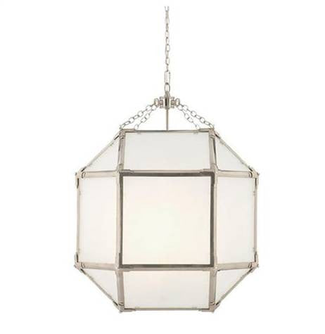 Medium Morris Lane Lantern Pendant by Visual Comfort in Polished Nickel with Frosted Glass SK5009PN-FG
