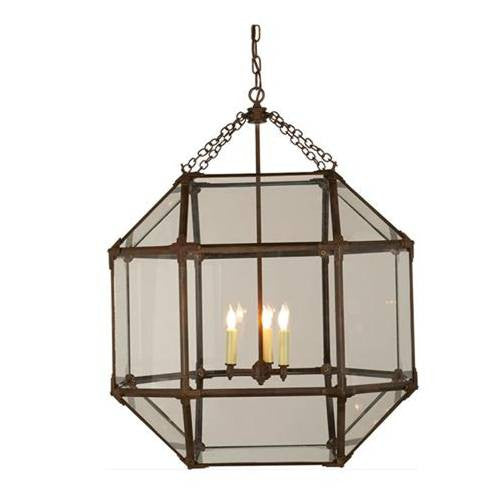 Large Morris Lane Lantern Pendant with Aged Zinc Finish and Clear Glass SK5010AZ-CG