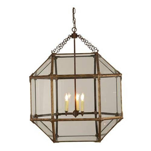 Large Morris Lane Lantern Pendant by Visual Comfort in Gilded Iron with Clear Glass SK5010GI-CG