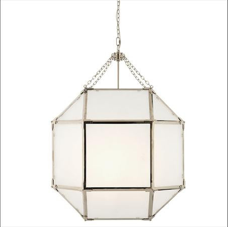 Large Morris Lane Lantern Pendant with Polished Nickel Finish and Frosted Glass by Visual Comfort SK5010PN-FG