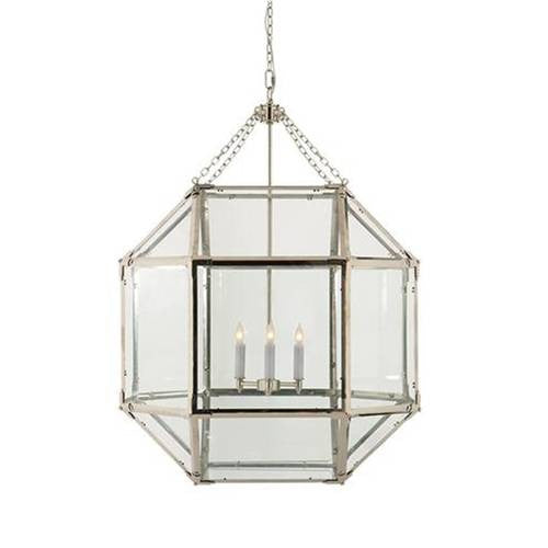 Large Morris Lane Lantern Pendant with Polished Nickel Finish and Clear Glass by Visual Comfort SK5010PN-CG