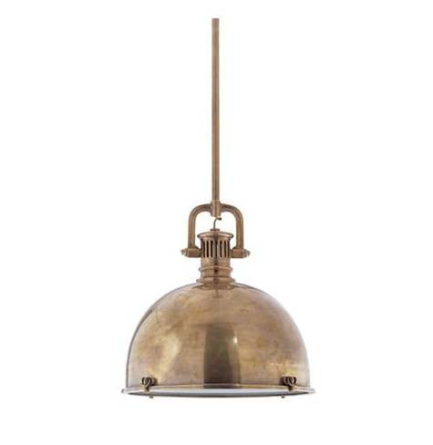Visual Comfort Yoke Large Pendant in Hand-Rubbed Antique Brass SL5175HAB-HAB1