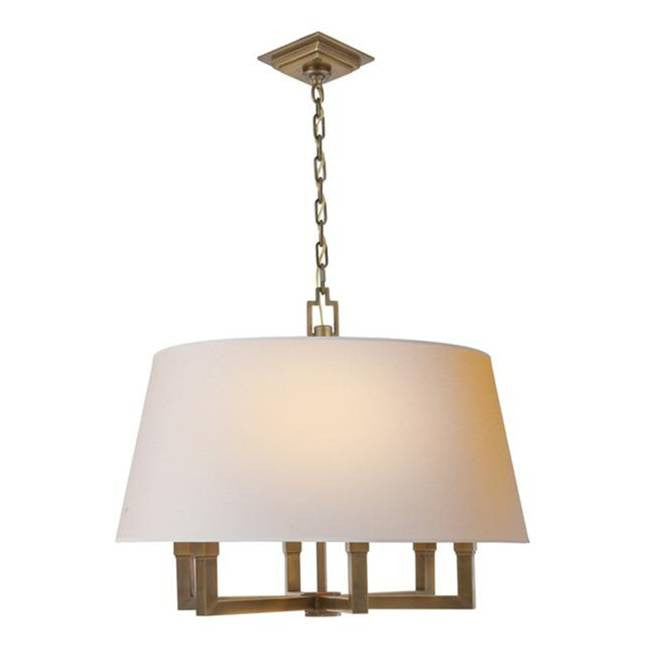 Square Tube Hanging Shade in Hand-Rubbed Antique Brass by Visual Comfort SL5820HAB
