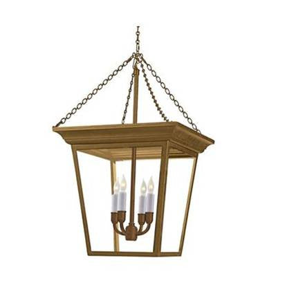 Visual Comfort Cornice Hanging Lantern with Hand-Rubbed Antique Brass Finish SL5871HAB
