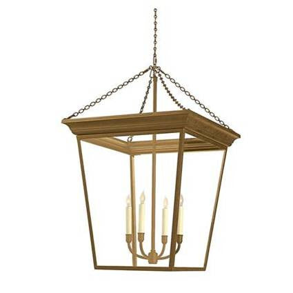 Visual Comfort Cornice Hanging Lantern in Hand-Rubbed Antique Brass SL5872HAB