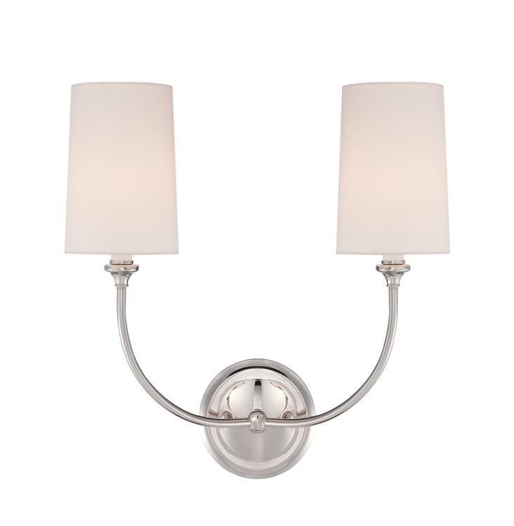 Sylvan 2 Light Sconce in Polished Nickel by Crystorama 2242-PN
