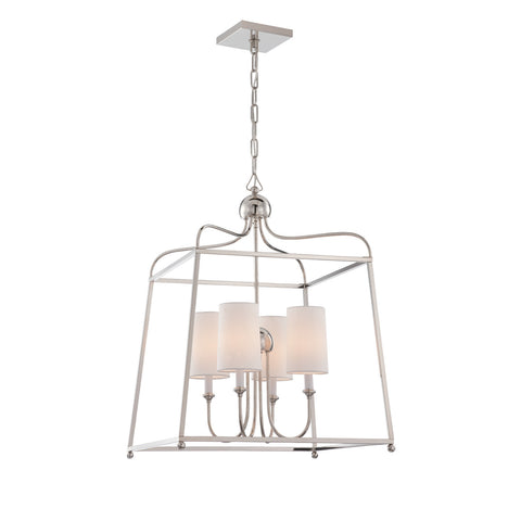 Sylvan 4 Light Chandelier in Polished Nickel by Crystorama 2244-PN