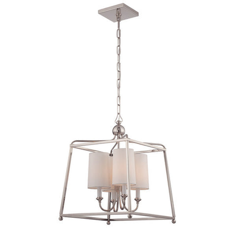 Sylvan 4 Light Chandelier in Polished Nickel by Crystorama 2245-PN
