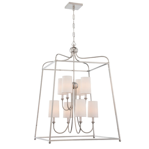 Sylvan 8 Light Chandelier in Polished Nickel by Crystorama 2248-PN