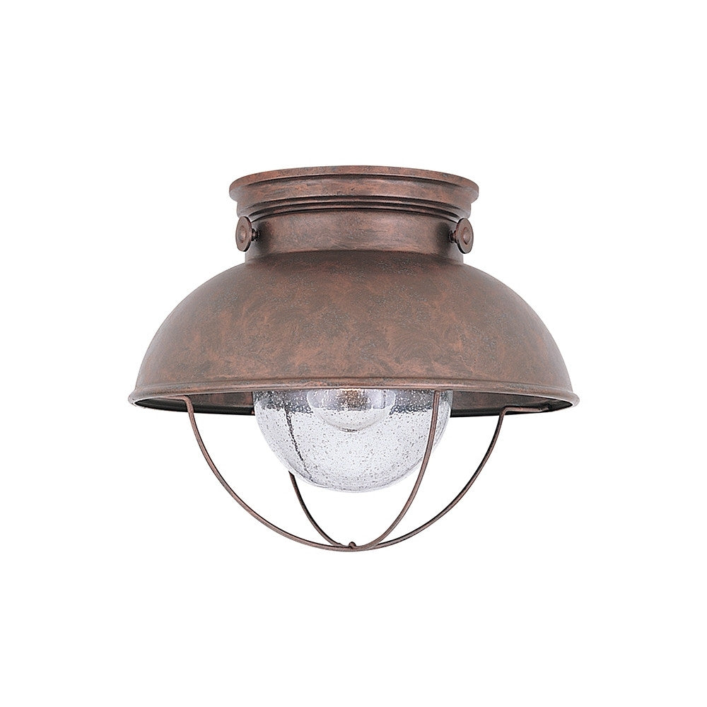 LED Sebring Nautical Outdoor Ceiling Mount in Weathered Copper by Sea Gull Lighting SG-886991S-44