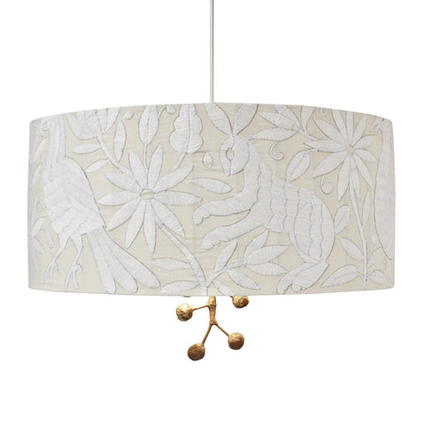 Pato Pendant by Stray Dog Designs with White Drum Shade and Gold Finial