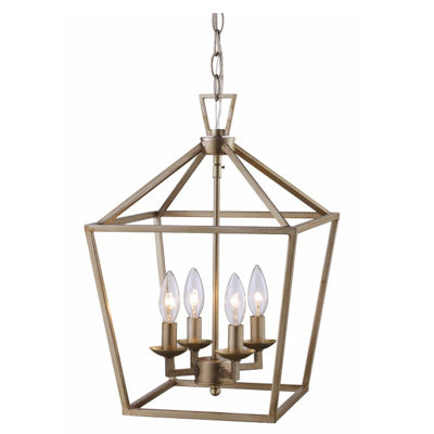 Lacey 4 Light Lantern Pendant in Antique Silver Leaf by Trans Globe Lighting 10264 ASL