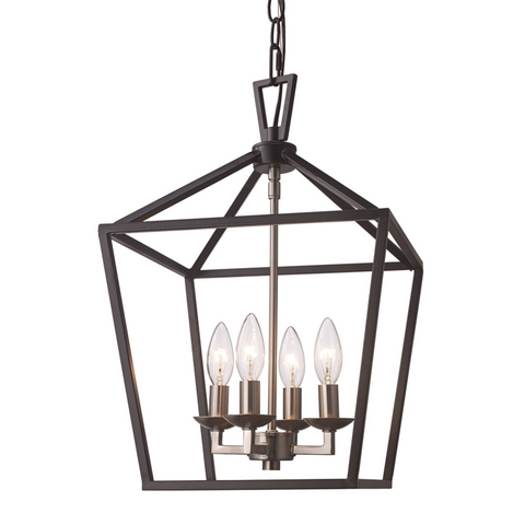 Lacey 4 Light Lantern Pendant in Black and Brushed Nickel by Trans Globe Lighting 10264 BK+BN