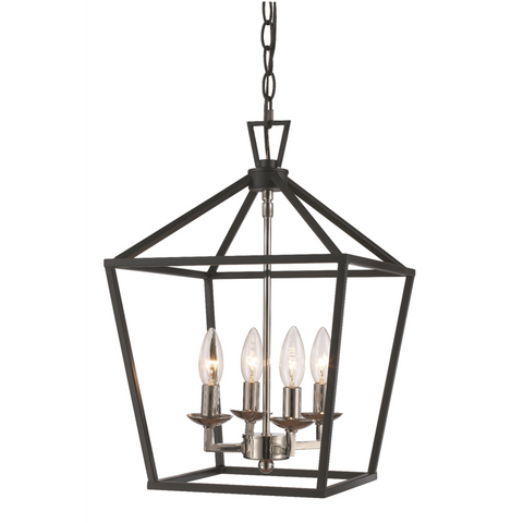 Lacey 4 Light Lantern Pendant in Polished Chrome and Black by Trans Globe Lighting 10264 PC+BK
