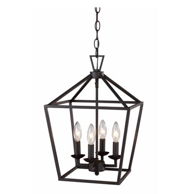 Lacey 4 Light Lantern Pendant in Rubbed Oil Bronze by Trans Globe Lighting 10264 ROB