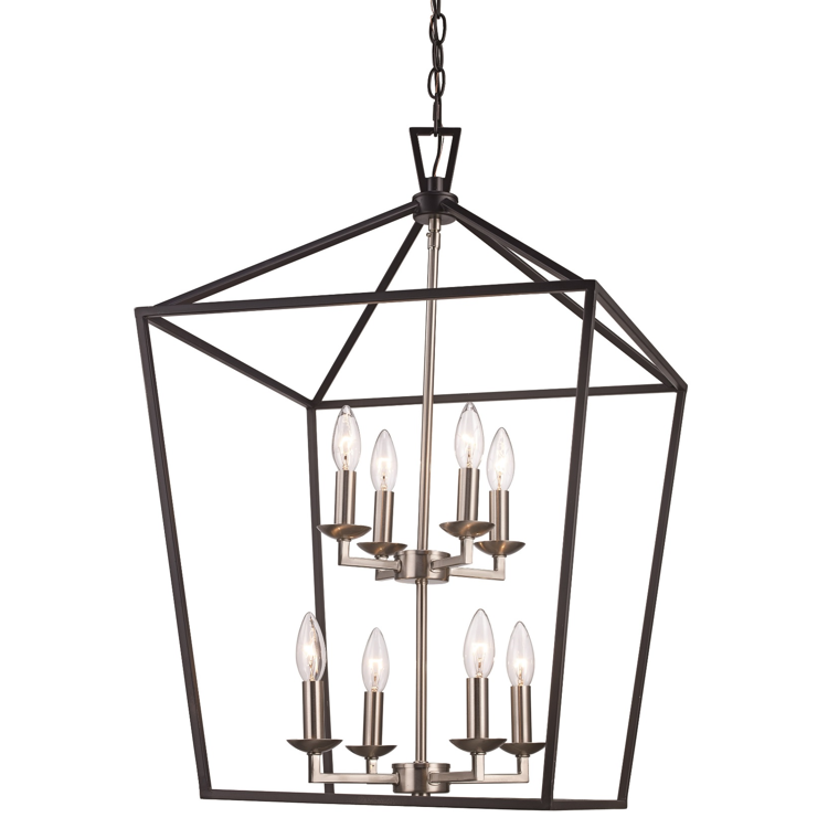 Lacey 8 Light Lantern Pendant in Black and Brushed Nickel by Trans Globe Lighting 10265 BK +BN