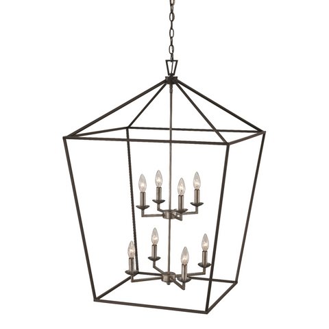 Lacey 8 Light Pendant in Polished Chrome and Black by Trans Globe Lighting 10265 PC+BK