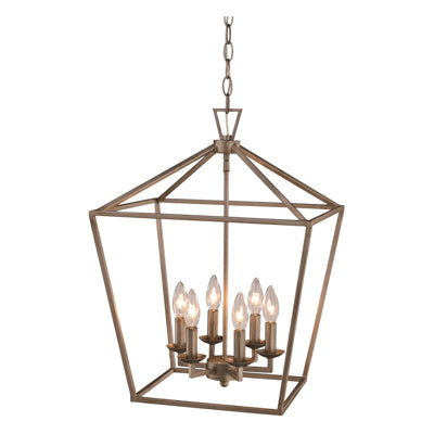 Lacey 6 Light Lantern Pendant in Antique Silver Leaf by Trans Globe Lighting 10266 ASL