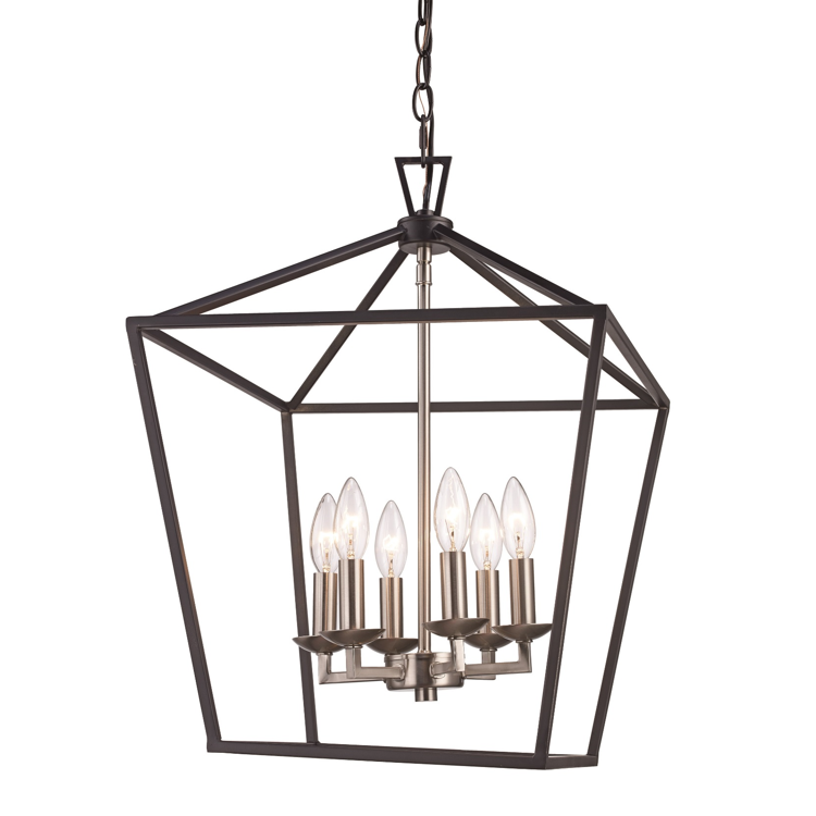 Lacey 6 Light Lantern Pendant in Black and Brushed Nickel by Trans Globe Lighting 10266 BK+BN