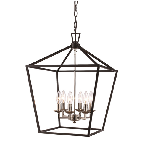 Lacey 6 Light Lantern Pendant in Polished Chrome and Black by Trans Globe Lighting 10266 PC+BK