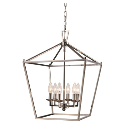 Lacey 6 Light Lantern Pendant in Polished Chrome by Trans Globe Lighting 10266 PC