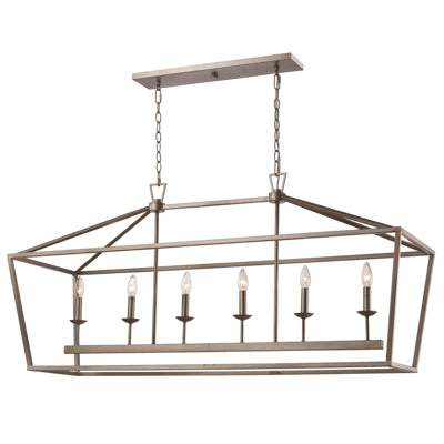 Lacey 6 Light Linear Pendant in Antique Silver Leaf by Trans Globe Lighting 10267 ASL
