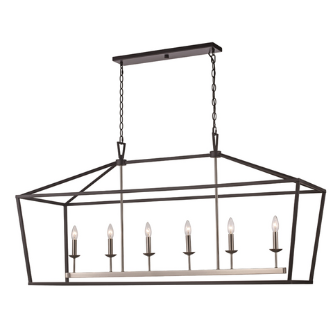 Lacey 6 Light Lantern Pendant in Black and Brushed Nickel by Trans Globe Lighting 10267 BK+BN