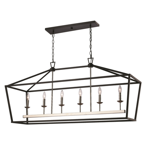Lacey 6 Light Lantern Pendant in Polished Chrome and Black by Trans Globe Lighting 10267 PC+BK