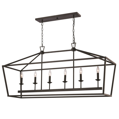 Lacey 6 Light Linear pendant in Rubbed Oil Bronze by Trans Globe Lighting 10267 ROB