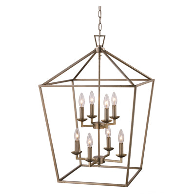 Lacey 8 Light Lantern Pendant in Antique Silver Leaf by Trans Globe Lighting 10268 ASL