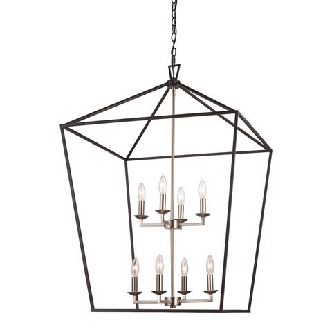 Lacey 8 Light Lantern Pendant in Black and Brushed Nickel by Trans Globe Lighting 10268 BK+BN