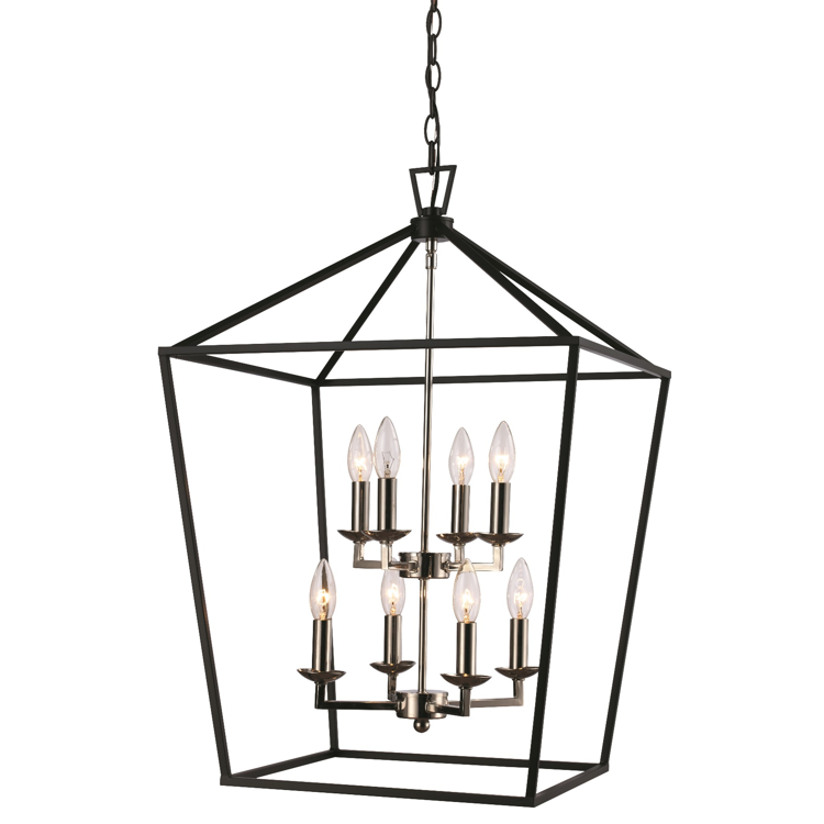 Lacey 8 Light Lantern Pendant in Polished Chrome and Black by Trans Globe Lighting 10268 PC+BK