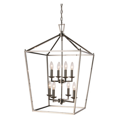 Lacey 8 Light Lantern Pendant in Polished Chrome by Trans Globe Lighting 10268 PC