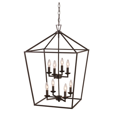 Lacey 8 Light Lantern Pendant in Rubbed Oil Bronze by Trans Globe Lighting 10268 ROB
