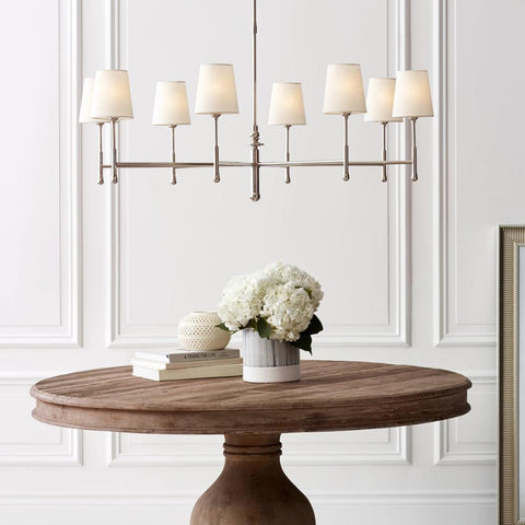 Lifestyle Shot of Capri Chandelier, 8-Light Chandelier, Polished Nickel