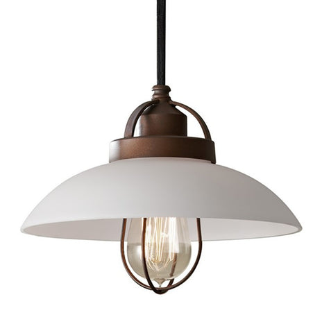 Feiss P1241BZP Urban Renewal Pendant with White Glass Shade