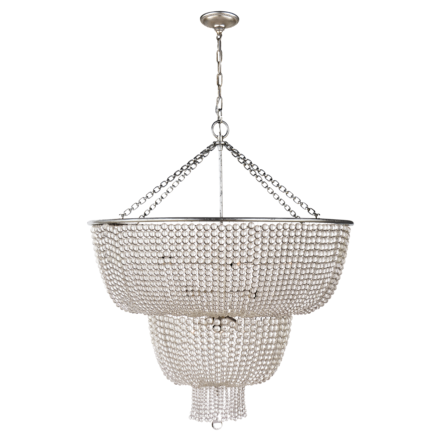 Visual Comfort 12 Light Jacqueline Chandelier in Burnished Silver Leaf with Clear Glass Beads ARN 5104BSL-CG