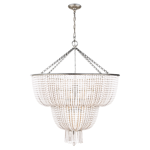 Visual Comfort 12 Light Jacqueline Chandelier in Burnished Silver Leaf with White Acrylic Beads ARN 5104BSL-WG