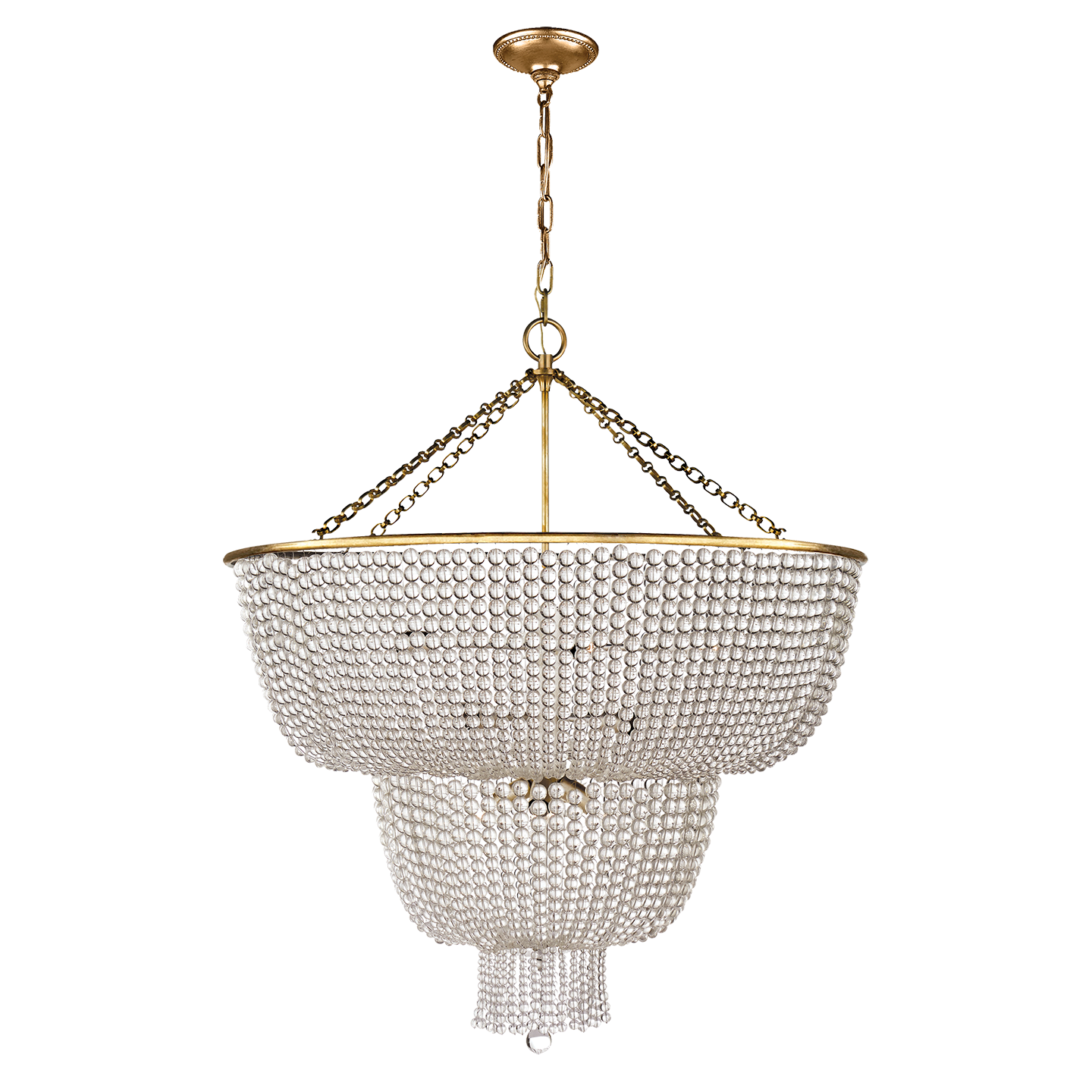 Visual Comfort 12 Light Jacqueline Chandelier in Hand-Rubbed Antique Brass with Clear Glass Beads ARN 5104HAB-CG
