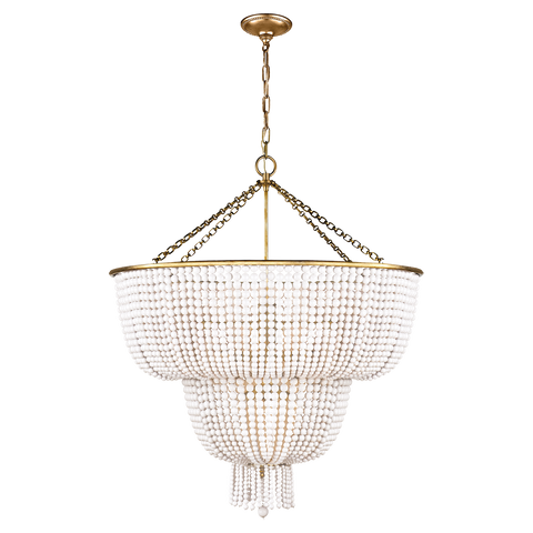 Visual Comfort 12 Light Jacqueline Chandelier in Hand-Rubbed Antique Brass with White Acrylic Beads ARN 5104HAB-WG