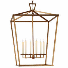 Darlana 6 Light Extra Large Lantern in Gilded Iron by Visual Comfort CHC2177GI