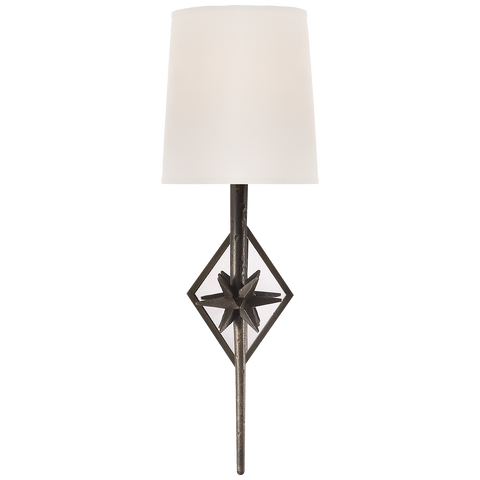 Visual Comfort Etoile Sconce in Aged Iron with Natural Paper Shade S2320AI-NP