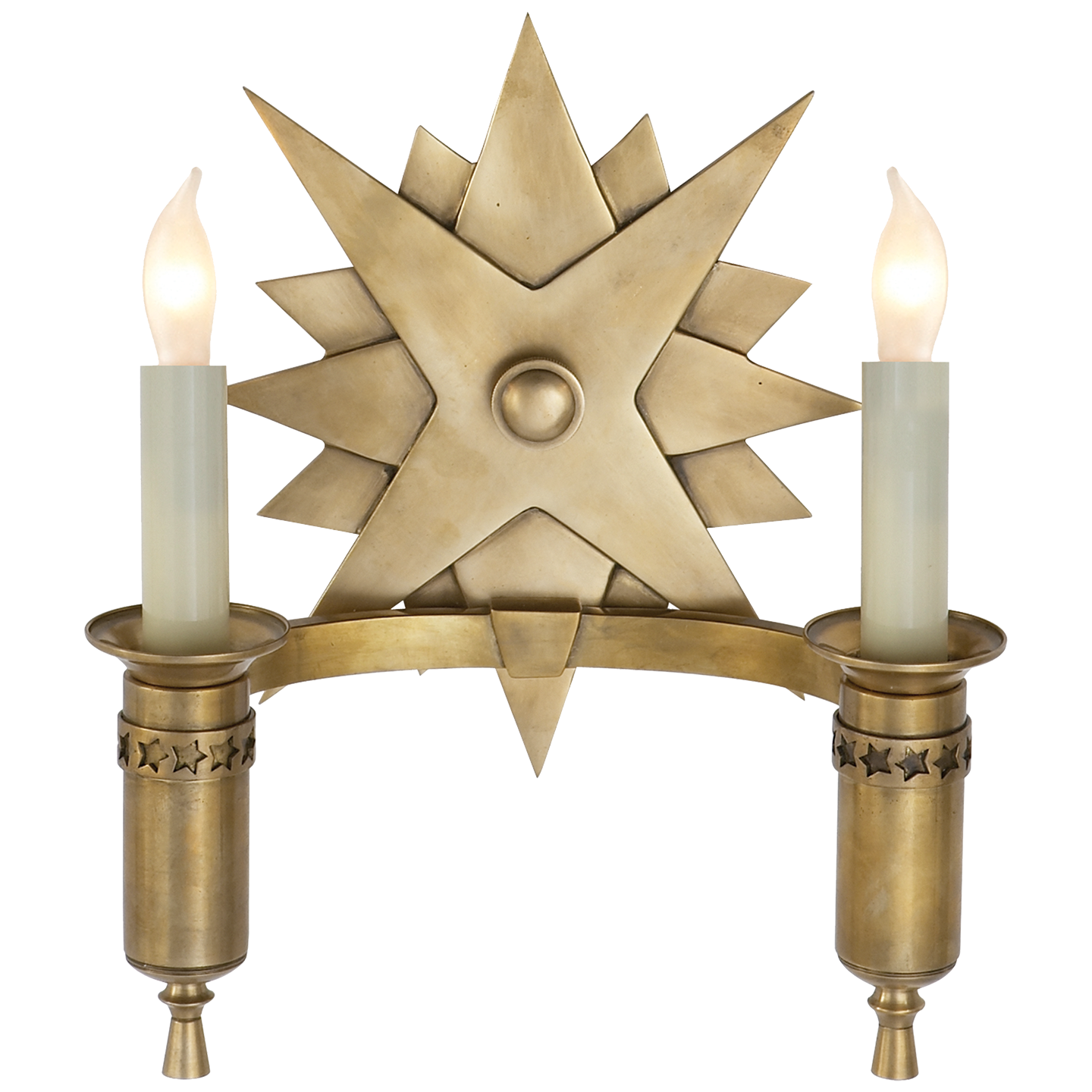Visual Comfort Miguel Double Sconce in Hand-Rubbed Antique Brass SR2000HAB