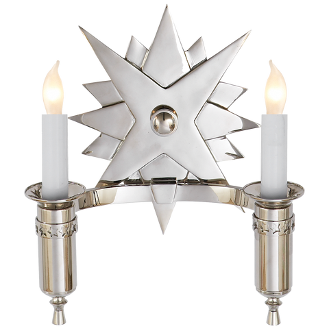 Visual Comfort Miguel Double Sconce in Polished Nickel SR2000PN