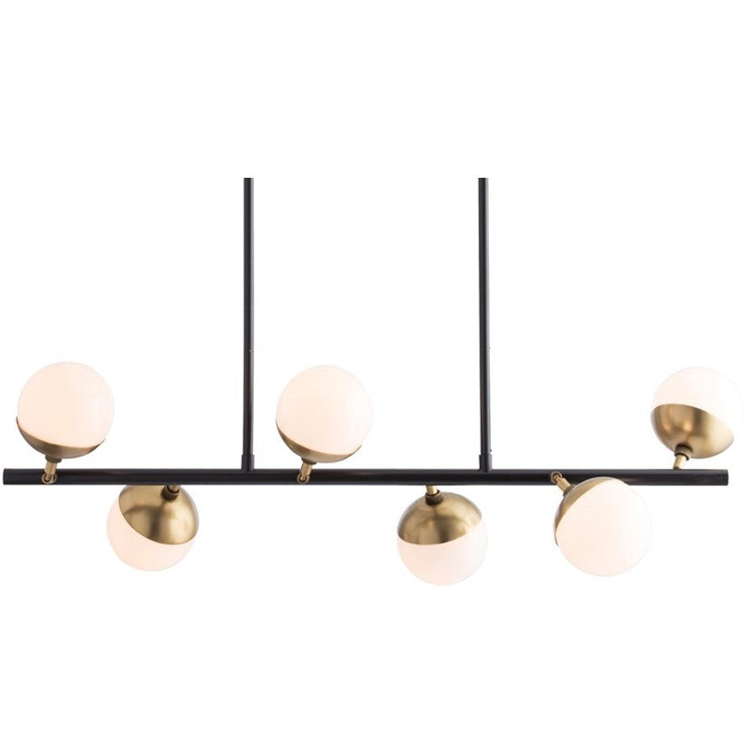 Wahlburg Linear Chandelier in Antrique Brass with Opal Glass Shade by Arterior Home 89026