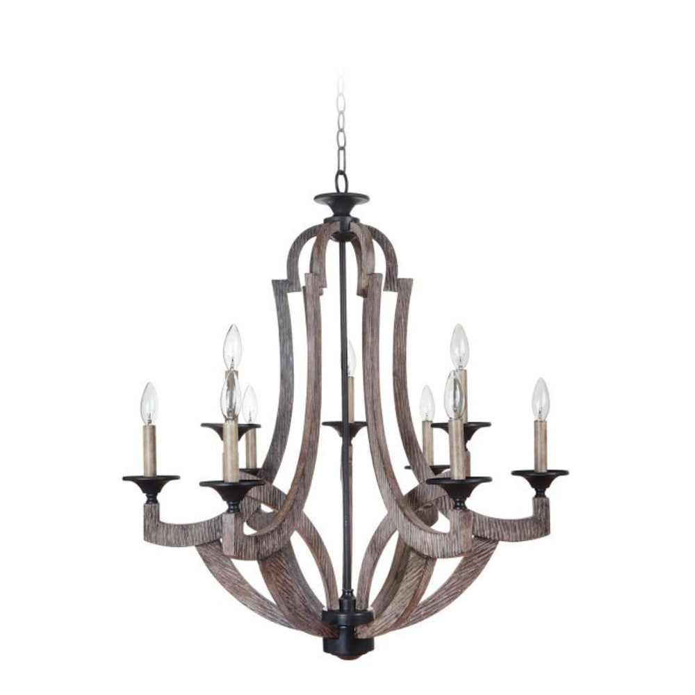 Perricone Weathered Pine Chandelier
