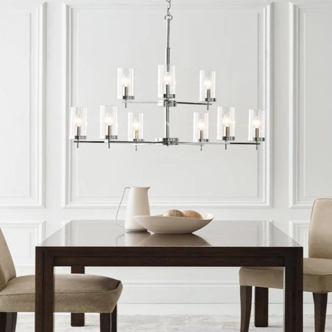 Huntington 9-Light Chandelier, Chandelier, Brushed Nickel