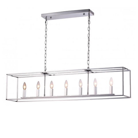 Modern Elegance Chrome Open Cage Linear Chandelier by Artcraft Lighting AC10775CH